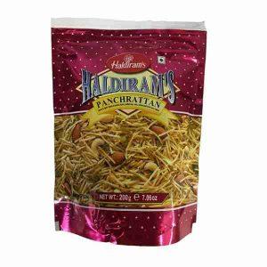 Haldiram's, smulkinti bulvių traškučiai su džiovintais vaisiais